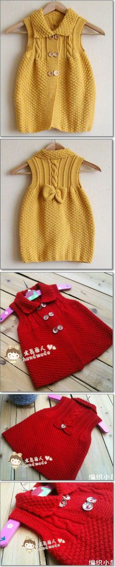 Baby Knitting Patterns Sweaters Ravelry: Clara by Karin Vester Baby Knitting Patterns, Knitting For Kids, Crochet Patterns, Free Knitting, Knitting Projects, Crochet Girls, Crochet For Kids, Knit Crochet, Knitted Baby Clothes
