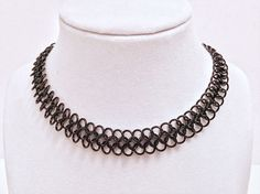 "1/3"" Wide Thin Lightweight Black Anodized Aluminum Nickel Free Goth / Gothic Chainmail Metal Choker Collar Necklace - Men Women Emo Lace by JohnsChainmailShop from John's Chainmail Shop. Find it now at http://ift.tt/2do7IRM!"