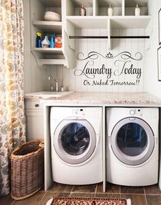 Laundry Today, Or Naked Tomorrow! Laundry Room Decor Laundry Quote Vinyl Wall Decal Stickers • Laundry Room Wall Decor • Laundry Room Decal • Wall Quotes • Wall Words • Wall Stickers • Vinyl Wall Stic