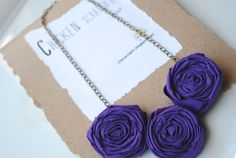 Fabric Flower Necklace- Purple Wrapped Rose Bib Necklace via Etsy