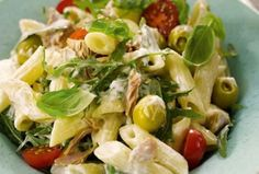 Try this paradise pasta salad recipe; Cook the Pasta Creamy Pasta Salads, Pasta Salad Recipes, Seafood Recipes, Mayonnaise, Recipe Calculator, Clean Eating, Recipe Details, Cheap Meals, Tuna