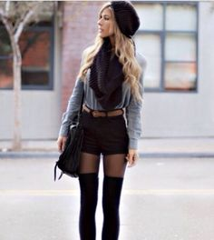 Adorable outfit! Black beanie, black circle scarf, long sleeved shirt, shorts, tights and knee high socks