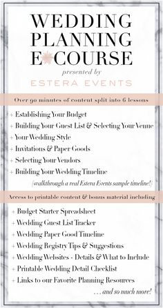 The Estera Events Wedding Planning E*Course is designed to give you access to useful tools and professional advice from one of the Top Wedding Planners in the country. We know that planning a wedding can be overwhelming and time consuming; we want to show you how to stop spinning your wheels and manage your time more efficiently. This easy-to-follow E*course is split into six lessons and filled with valuable information, downloadable content, and bonus materials.