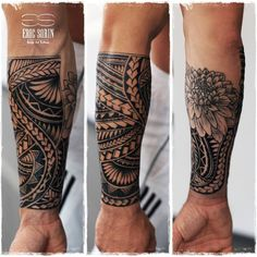 Nice bold black work sleeve #samoantattoosforearm