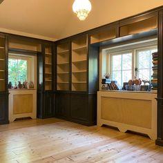 Special order, corner bookcase, design & production & final assembly by Romwesteuro Bookcase, Garage Doors, Corner, Cabinet, Storage, Outdoor Decor, Furniture, Design, Home Decor