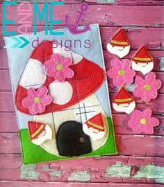 Gnome Tic Tac Toe Embroidery Design - 5x7 or Larger - E&Me Designs