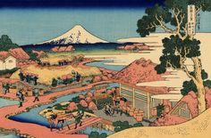 Hokusai 36 views of mount Fuji additional 10 #7 The Tea plantation of Katakura in Suruga Province駿州片倉茶園の不二 Sunshū Katakura chaen no Fuji
