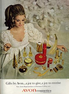 """""""Gift by Avon… A joy to select… A joy to give… A joy to receive!"""" These Christmas adverts for Avon cosmetics date from Avon Vintage, Vintage Makeup Ads, Retro Makeup, Vintage Perfume, Vintage Beauty, Retro Vintage, Vintage Fashion, Poster Vintage, Vintage Lingerie"""