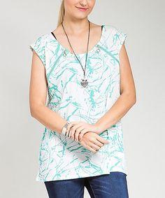 Look at this #zulilyfind! White & Mint Slash Zipper Scoop Neck Top - Plus #zulilyfinds