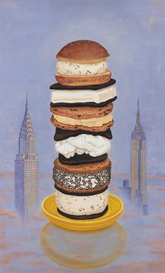 """""""Ice Cream Sandwiches of New York"""" 2012 by Kent Christensen. Oil on panel 36 x 22 in / 91 x 56 cm. Ice Cream Painting, Dynamic Painting, New Gods, Fine Art Gallery, Beautiful Paintings, Junk Food, Food Art, Sweets, Breakfast"""
