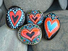Folk Tale Heart Magnets / Stone Magnets /Sandi Pike Foundas / Set of 4.