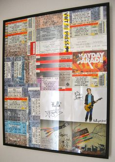 Great idea for putting all my concert memorabilia in a nice display
