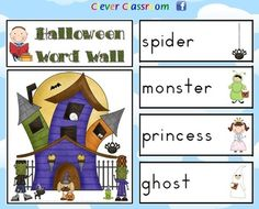 Halloween Word Wall - Vocabulary and Worksheet - 9 pages $
