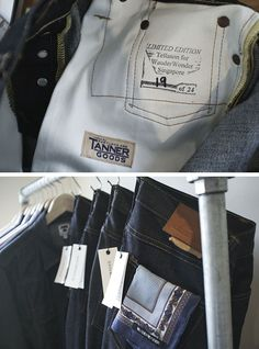 Tellason for Wander Wonder oz. Red Line Denim' via Streething Trouser Jeans, Denim Jeans, Trousers, Japanese Denim, Indigo Dye, Raw Denim, Denim Fabric, Joes Jeans, Workwear