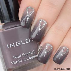 New nail art with INGLOT nail polishes. INGLOT No.366, 370(in the picture), 371 INGLOT Pro No.90 (glitter silver - Grey Nail Art, Gray Nails, Gradient Nails, Love Nails, Pretty Nails, Inglot Nail Polish, Nail Polishes, Christmas Gift Daughter, Christmas Gifts