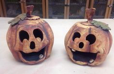 Ceramic pumpkins Pottery Ideas, Pumpkins, Candle Holders, Clay, Candles, Projects, Halloween, Clays, Log Projects