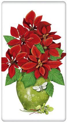 Poinsettia Christmas Vase 100% Cotton Flour Sack Dish Towel Tea Towel