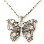 Butterfly Pendant Antique Necklace with Alloy and Rhinestone for Women Silver