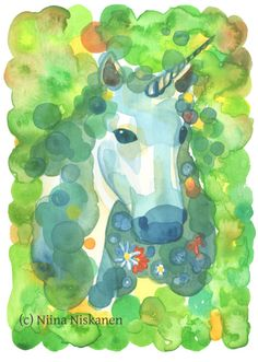 Magical unicorn of the enchanted forest. Painted completely with watercolors on acid-free watercolor paper. Makes beautiful wall art decor to nursery or bedroom. Watercolor Paintings Nature, Watercolor Paper, Watercolors, Unicorn Art, Magical Unicorn, Enchanted Forest Party, Magical Forest, Original Artwork, Original Paintings