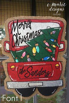 Christmas Truck Burlap Door Hanger by CMarieDesignsOxford on Etsy