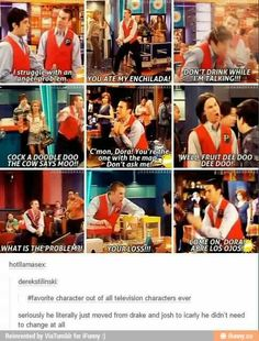 It kills me that there are people out there who know him from iCarly over Drake and Josh, and I feel like that should be illegal lol Funny Quotes, Funny Memes, Hilarious, Funny Gifs, Funny Cartoons, Memes Humor, Cat Memes, Drake And Josh, Plus Tv