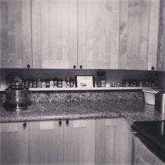 Spice Shelf for my Kitchen. Ikea picture ledge. iPad recipe holder.