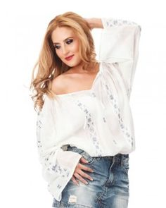 ETHNIC HANDMADE BLOUSE - Four-Leaf Clover Motif Piece Of Clothing, Clothing Items, Peasant Blouse, Ruffle Blouse, Folk Fashion, Vogue Magazine, White Silk, Elegant Outfit, Handmade Clothes