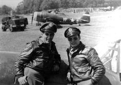 """Here we see a P-47 of the 334th FS 4th FG, pilots Don Gentile left, and """"The Flying Greek"""" Steve Pisanos"""