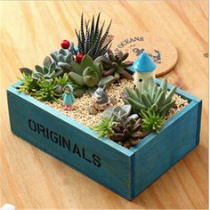 Shabby Chic Retro Style Zakka Wooden Decorative Plant/Storage Boxes 2 Colors