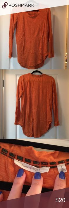 Anthropologie pure and good long sleeve shirt Anthropologie pure and good long sleeve shirt burnt orange size small. Anthropologie Tops Tees - Long Sleeve