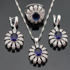 Colore argento Set di Gioielli Per Le Donne Di Natale Blu Creato Sapphire Pietre Bianche Orecchini di Pendente Della Collana Anelli Contenitore di Regalo Libero