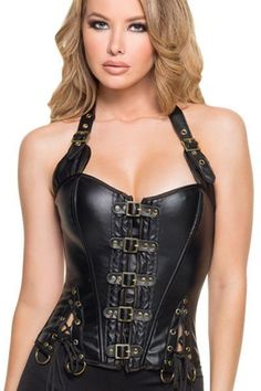 Black Buckle-up Steampunk Corset In Gold Buckles