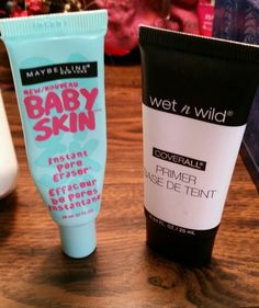 """Seriously the best drug store """"smooth face"""" combination. First thoroughly apply the Baby Skin all over your face, then put on the Wet 'n' Wild Primer and it's seriously the best base for foundation!"""