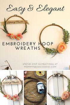 Ideas Embroidery Hoop Wreath Diy Spring For 2019 Embroidery Hoop Crafts, Paper Embroidery, Machine Embroidery, Embroidery Designs, Embroidery Stitches, Craft Font, Kanban Crafts, Decoration Entree, Diy Blanket Ladder