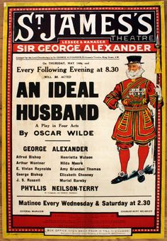 Lot of the Day: Original Vintage Poster auction, Saturday 14 November. View our catalogue and register to bid at https://www.liveauctioneers.com/catalog/79673_original-vintage-posters/ #LotoftheDay #OscarWilde #AnIdealHusband