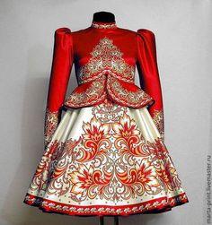 Танцевальный костюм Снежная сказка (красный) - орнамент,пошив,пошив на заказ