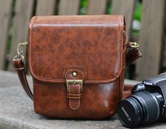 Hand Stitched Small DSLR Camera Bag in Dark Brown by sunmarkstudio, $38.00