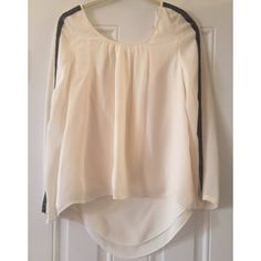 3/4 Sleeve Top With Black Sequins 100% silk! Gorgeous Rebecca Minkoff top with glass bead detail on sleeves. Requires button for back closure. Dry clean only. Rebecca Minkoff Tops Blouses