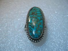 Vintage Sterling Silver Turquoise Long Ring 1.5 by stampshopgirl