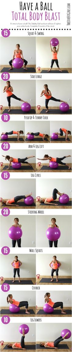 Have a Ball with this Total Body Stability Ball Workout! Have a Ball with this Total Body Stability Ball Workout! Have a Ball with this Total Body Stability Ball Workout! Fitness Workouts, Total Body Workouts, Pilates Workout Routine, Fitness Motivation, Pilates Training, At Home Workouts, Fitness Pilates, Total Body Toning, Training Fitness