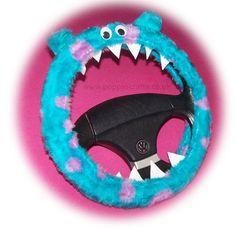 Monster Roar Sully spot steering wheel cover faux fur fluffy furry fuzzy car truck van jeep cute googly eyes teeth dragon truck suv fun van