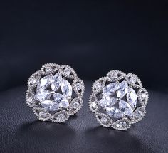 $23 Marquise Cut Cubic Zirconia Round Flower Stud Earrings Floral Filigree Lace Earrings Bridesmaids Everyday Simple Casual Delicate, AE0108 by AmodeJewelry on Etsy https://www.etsy.com/listing/210513609/marquise-cut-cubic-zirconia-round-flower