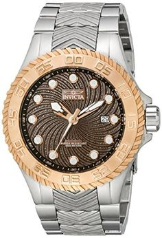 Invicta Mens 12929 Pro Diver Automatic Brown Textured Dial Stainless Steel Watch ** Visit the image link more details.