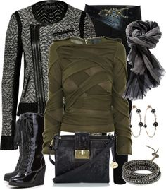 """""""Edgy Kale Sweater"""" by fantasy-closet ❤ liked on Polyvore"""