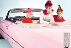 bubble gum pink vintage car