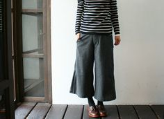 wool wide pants with stripped shirt :)