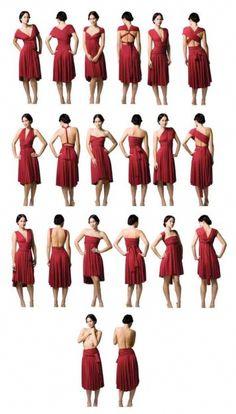 Vestido multiuso, 10 em 1 } Multiuse dress, 10 in 1 Diy Fashion, Ideias Fashion, Infinity Wrap Dresses, Convertible Clothing, Burgundy Bridesmaid Dresses Long, How To Wear Scarves, Scarf Styles, Diy Clothes, Feminine Fashion