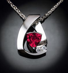 ruby necklace - Chatham lab grown ruby - diamonds - Argentium silver - gemstone jewelry - July birthstone - trillion - 3452