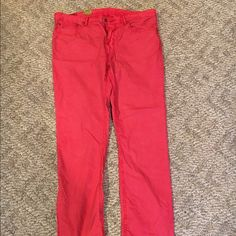 Polo Ralph Lauren men's jean style pants Beautiful coral color Polo Ralph Lauren men's jean style pants, perfect for a woman.  Bought these for length and style.  Very cool. Never worn, but not because they aren't great.  Just never got to them and now must downsize.  New without tags. Polo by Ralph Lauren Pants Straight Leg