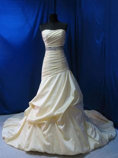 Satin Champagne color Strapless bridal dress by DFdiscoverfashion